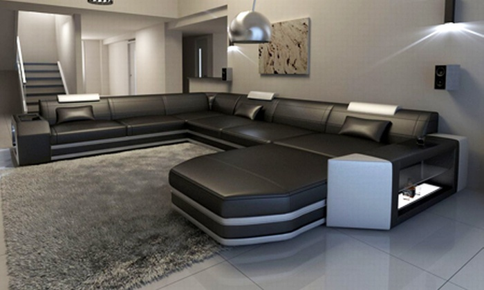 luxus designersofas aus leder groupon goods. Black Bedroom Furniture Sets. Home Design Ideas