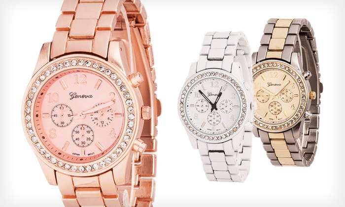 Women's Geneva Crystal Boyfriend Watch: $9.99 for a Women's Geneva Crystal Boyfriend Watch ($29.99 List Price). Multiple Colors Available. Free Returns.
