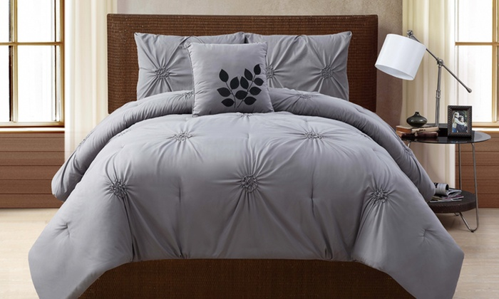 4-Piece Embellished-Comforter Sets: 4-Piece Embellished-Comforter Set in Gray, Taupe, or White. Multiple Sizes Available from $69.99–$79.99. Free Returns.