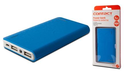 Batería externa azul Dual Contact de 8000 mAh con linterna