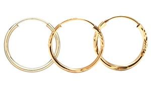 Diamond-cut Hoop Earrings In 14k Gold