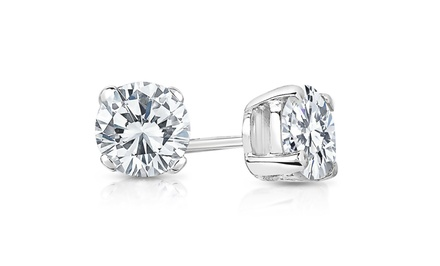 1.00 CTTW Certified Diamond Stud Earrings in 14-Karat White Gold by Diamond Affection