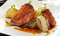 Menu pour 2 convives servi en 4 metspar personne à 89 € au restaurant lAuberge de la Chèvrerie