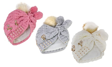 Pearl and Rhinestone Pom-Pom Hat
