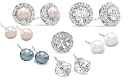 4-in-1 White Sapphire and Freshwater Pearl Interchangeable Halo Stud Earrings