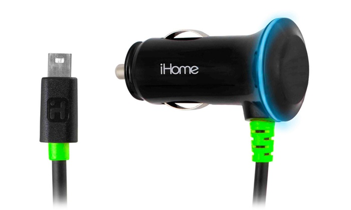 iHome 2.4-Amp Vehicle DC Charger with Attached 5Ft. Micro-USB Cable: iHome 2.4-Amp Vehicle DC Charger with Attached 5Ft. Micro-USB Coil Cable