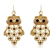 Crystal Owl Chandelier Earrings in Gold Overlay