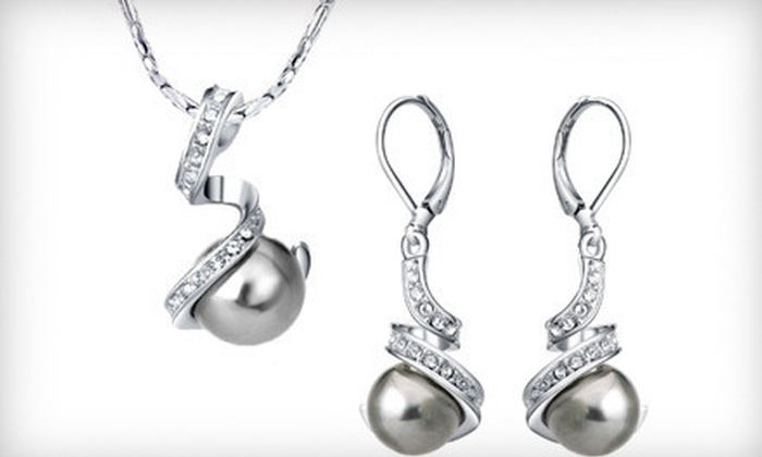 Blue Jade: $29 for a White-Gold-Plated Necklace and Earring Set from Blue Jade ($79 Value)
