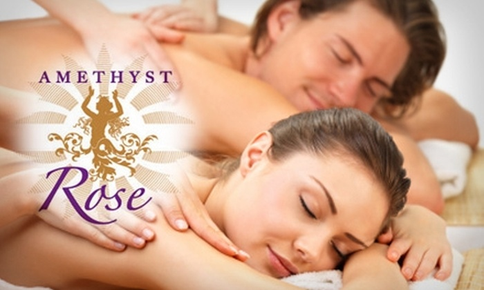Amethyst Rose Massage, Healing, Skincare and Pilates Spa - Islip: $80 for a 45-Minute Fireside Couples Massage at Amethyst Rose Massage, Healing, Skincare and Pilates Spa ($160 Value)