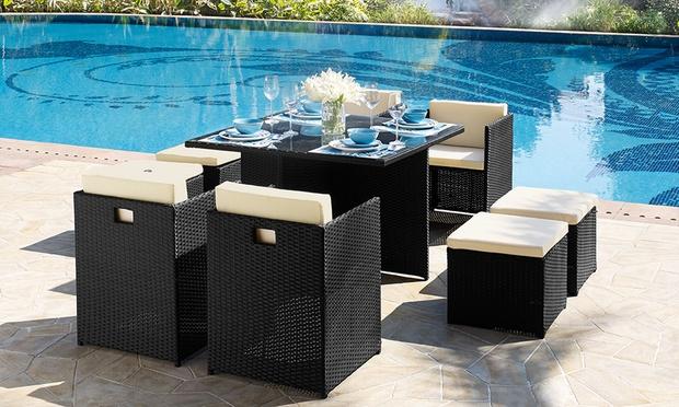 9 Piece Rattan Effect Dining Set   Groupon Goods. Rattan Effect Garden Dining Furniture   Modrox com