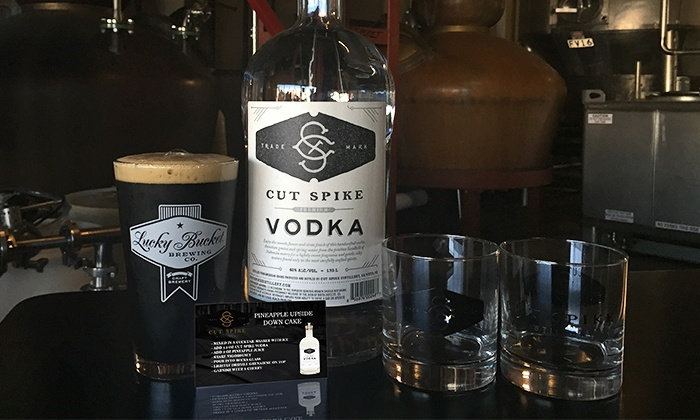 Lucky Bucket Brewing and Cut Spike Distillery - Lucky Bucket Brewing Company: Bottle of Cut Spike Vodka, Two Rocks Glasses, and Tour of the Distillery and Brewery for One or Two Pairs of People (58% Off)