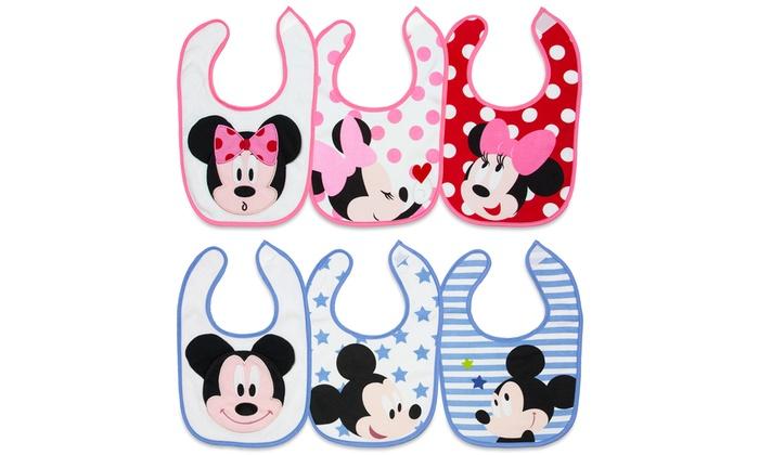 3-Pack of Disney Mickey or Minnie Bibs: 3-Pack of Disney Mickey or Minnie Bibs