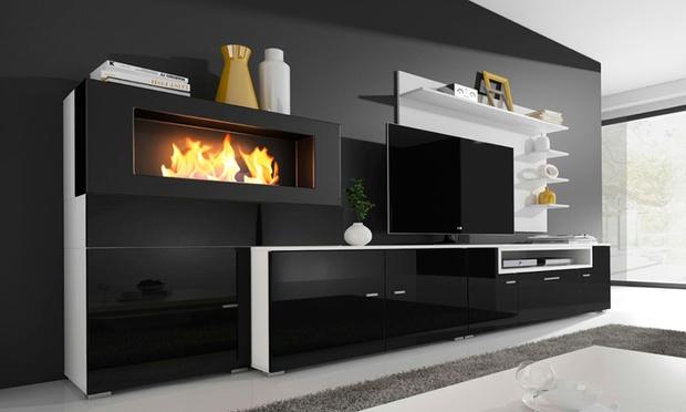 ensemble de salon chemin e olympo groupon. Black Bedroom Furniture Sets. Home Design Ideas
