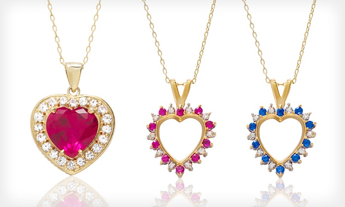 Created Ruby and Sapphire Pendants: Created Ruby and Sapphire Pendants (Up to 87% Off). 2 Styles Available. Free Shipping and Returns.