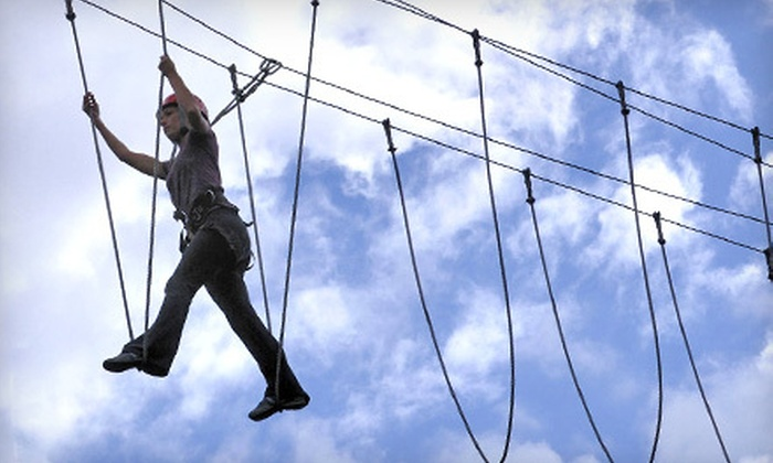 Adventura - Tourist District: $50 for a Ropes and Zipline Challenge Course and Tour of Redhook Brewery from Adventura ($100 Value)
