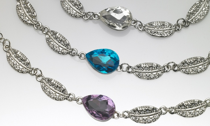 Leaf-Design Bracelet with Swarovski Elements: Leaf-Design Bracelet with Swarovski Elements. Multiple Styles Available. Free Returns.