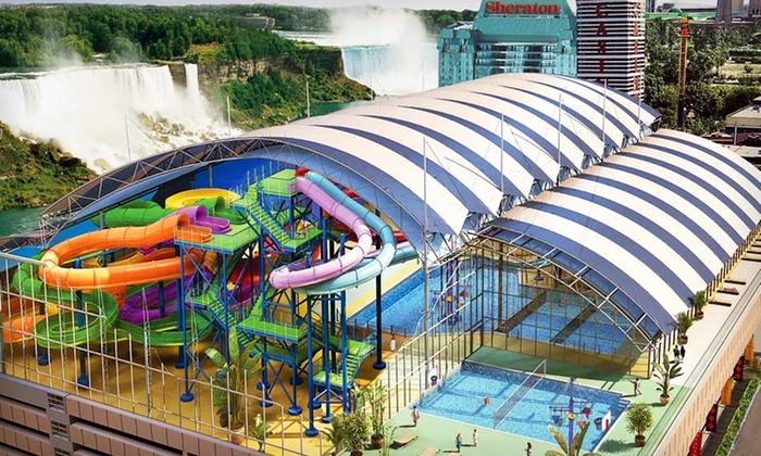 null - Toronto (GTA): Stay with Dining Credit, Mini-Golf, and Optional Indoor Water Park Passes at Skyline Inn Niagara Falls in Ontario