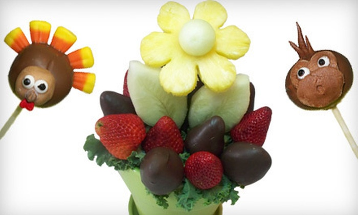 Fruitful Expressions - Lower Sackville: 12 Cake Pops or a Chocolate Fruit Blossoms Bouquet from Fruitful Expressions (Up to 51% Off)