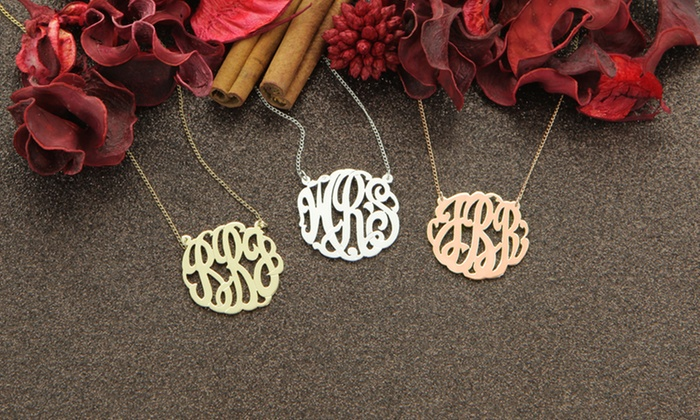 Rose-Gold-, Gold-Plated, or Sterling Silver Monogram Necklaces from Monogram Online Available from $39.99—$49.99