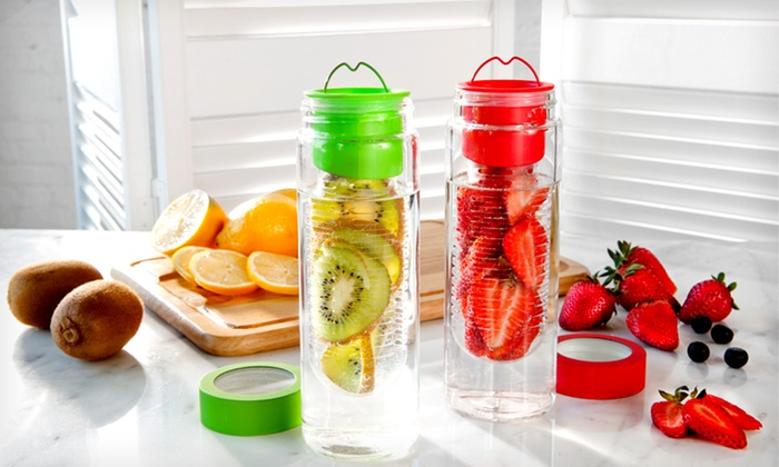 Fruit-Infuser Water-Bottle Two-Pack: $24.99 for Two Fruit-Infuser Glass Water Bottles ($60 List Price). Four Colors Available. Free Shipping and Returns.