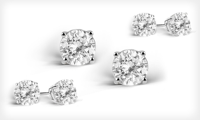 2-Carat White-Topaz Stud Earrings: One or Three Pairs of 2-Carat White-Topaz Stud Earrings (Up to 95% Off). Free Returns.