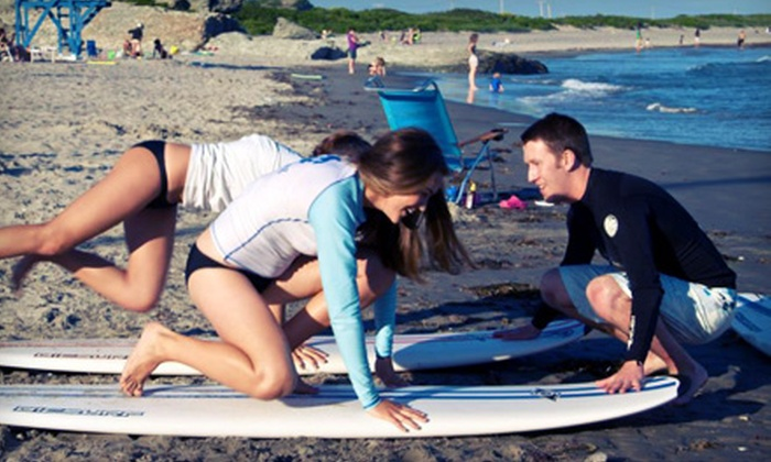 Rhody Surf - Middletown: Surfing or Paddleboarding Lesson for Two or Three with Wetsuit and Surfboard Rentals from Rhody Surf (Up to 55% Off)