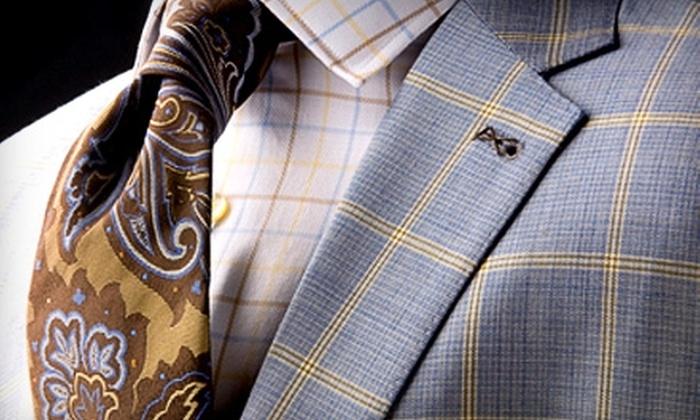 Carriages Fine Clothier - Mid City South: Men's Suits and Apparel at Carriages Fine Clothier. Two Options Available.