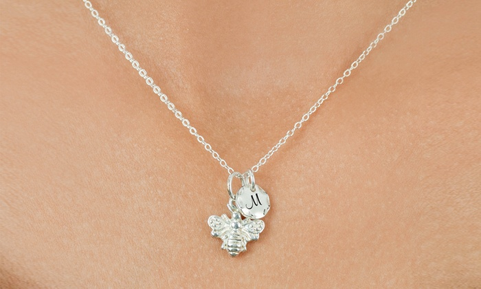 MonogramHub: $5 for a Bee Necklace with an Optional Initial Disk from MonogramHub ($44.99 Value)