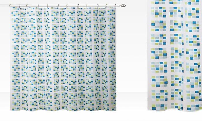 Vega Micro-Pixel PEVA Shower Curtain Sets with Metal Rings: Vega Micro-Pixel PEVA Shower Curtain Sets with Metal Rings. Multiple Colors Available. Free Returns.