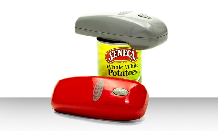 1-Touch Automatic Handy Can Opener: 1-Touch Automatic Handy Can Opener in Gray or Red.