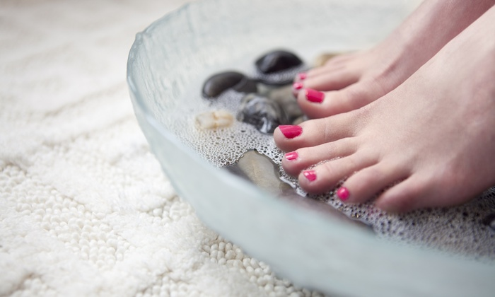 Nailz By Amber at 7th Heaven Natural Nail Salon - Hendersonville: $15 for Pedicure with Neck Wrap and Sugar Scrub at Nailz By Amber at 7th Heaven Natural Nail Salon ($30 Value)