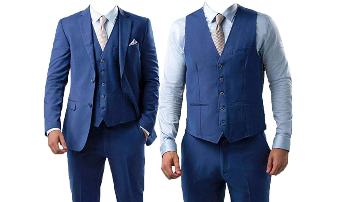 Men's Three-Piece Royal Blue Suit With Free Delivery