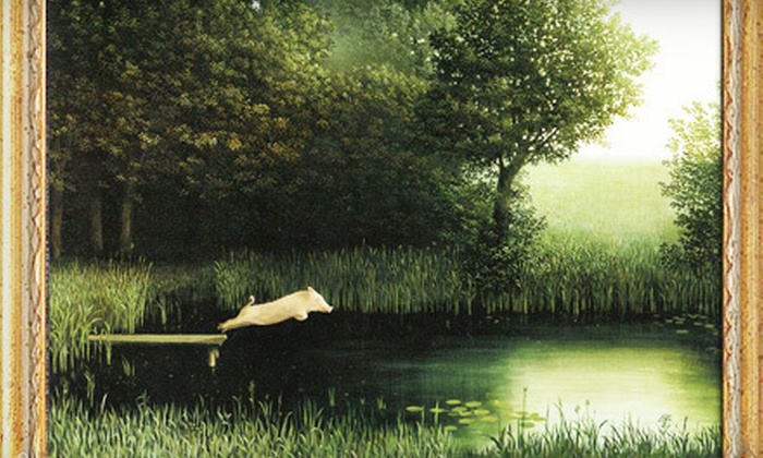 """Pig in Pond: $27 for Framed Print of Michael Sowa's Surrealistic """"Pig in Pond"""" Painting with Shipping from Pig in Pond ($55.95 Value)"""