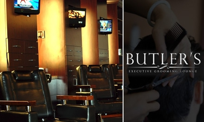 Butler's Executive Grooming Lounge  - Central City: $34 for a Professional Haircut, Hot-Lather Shave, Manicure, Shoeshine, and Complimentary Drink at Butler's Executive Grooming Lounge