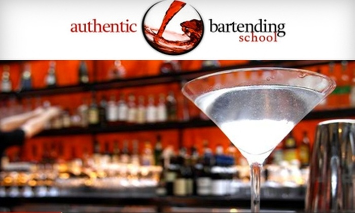 Authentic Bartending School - Multiple Locations: $99 for 16-Hour Bartending Course at Authentic Bartending School