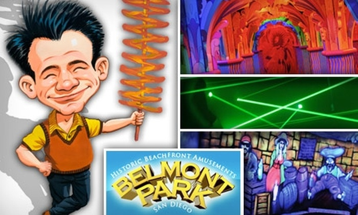 Mission Beach Attractions - Mission Beach: $8 for Nine-Hole Mini-Golf, Laser Maze and Mirror Mazes, 20 Arcade Tokens, Chipstix, and Soda at Belmont Park ($25 Value)
