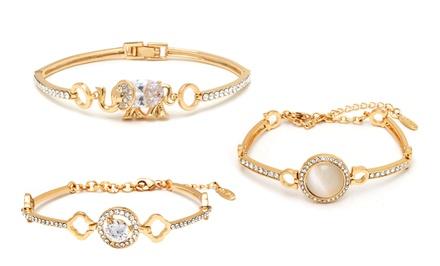 18K Gold Plated Gold Bracelets made with Swarovski Elements