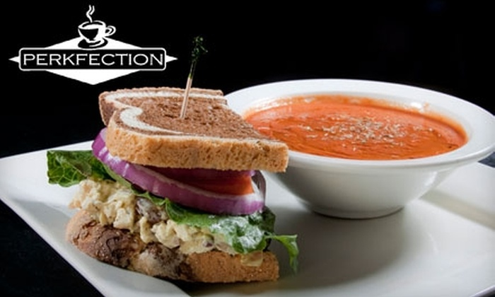 Perkfection Café - Downtown Jeffersonville: Coffee, Sandwiches, Smoothies, and More at Perkfection Café in Jeffersonville. Choose Between Two Options.