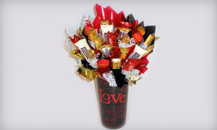 Candy Bouquets of Columbia - Rollingwood: Whole Lot of Love or Promise Me Candy Bouquet with 21 Assorted Candies from Candy Bouquets of Columbia (Up to 53% Off)