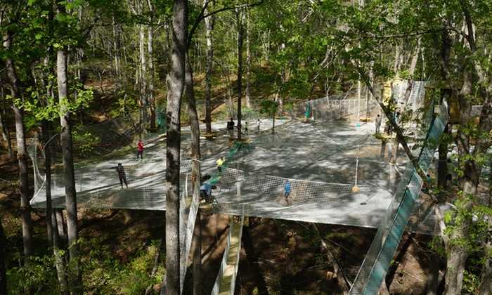 "Treetop Quest Gwinnett & Dunwoody - Gwinnett: $27 for ""Spider Quest"" Harness-Free Obstacle Course for Two Plus Drinks at Treetop Quest ($44.52 Value)"