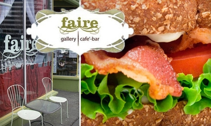 Faire Gallery Café Bar - Broadway: $10 for $20 Worth of Fresh Coffee, Sandwiches, Cocktails, and More at Faire Gallery Café Bar