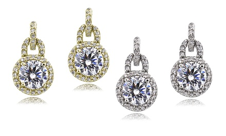 100 Facets Cubic Zirconia Round Dangle Earrings in Platinum or 18-Karat Gold Plate