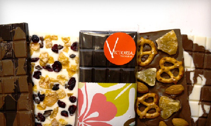 Victoria Chocolatier: 4 or 12 Make-Your-Own Chocolate Bars Including Shipping from Victoria Chocolatier (Up to 53% Off)