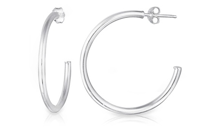 Open Hoop Earrings in Sterling Silver