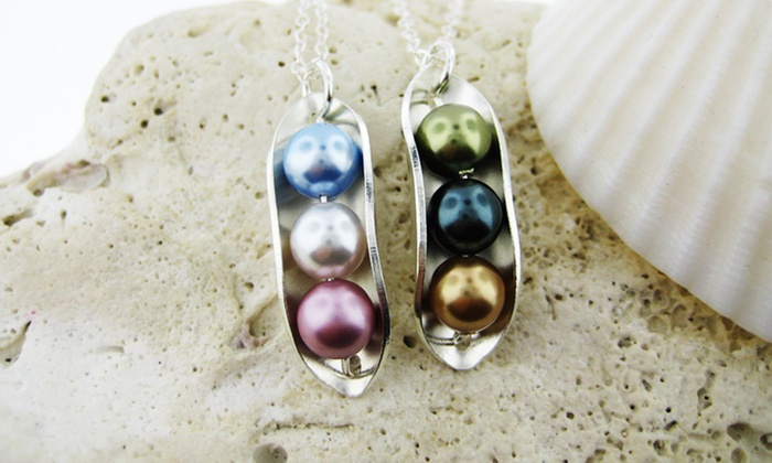 Personalized Peas in a Pod Necklace with Birthstone Pearls: Personalized Peas in a Pod Necklace with Birthstone Pearls