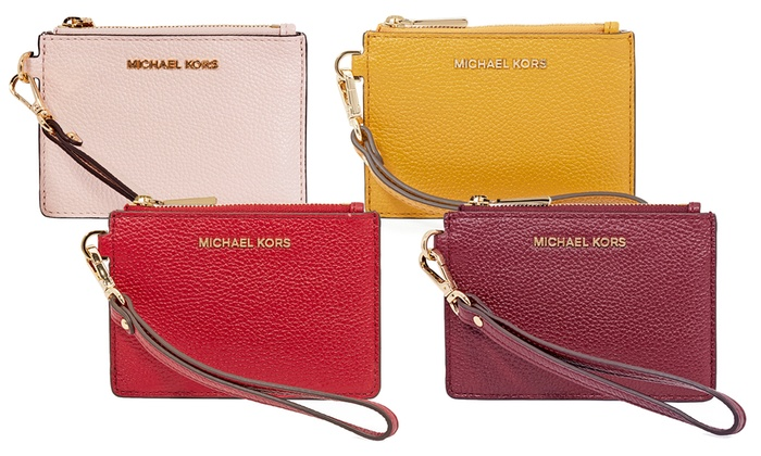 305695960bd5 Michael Kors Small Mercer Pebbled Leather Coin Case | Groupon