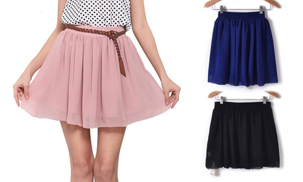 High Waist Chiffon Mini Skirt: One $15 or Two $25