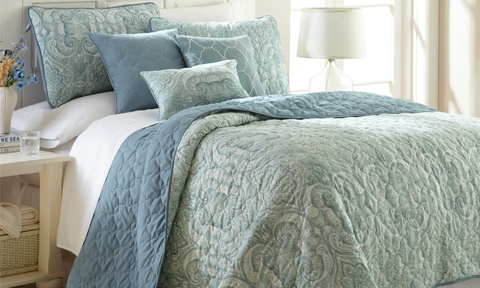 Quilted Reversible Coverlet Set Groupon Goods