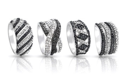 1/2 CTTW Round Black and White Diamond Ring