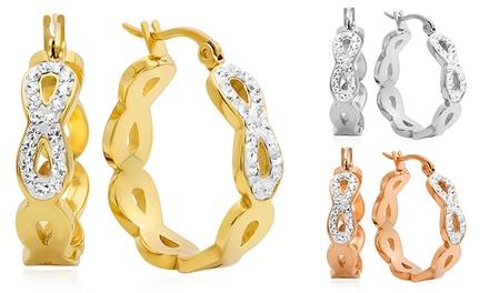 Huggie Hoop Earrings with Swarovski Elements Crystals